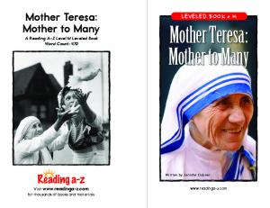 Mother Teresa: Mother to Many