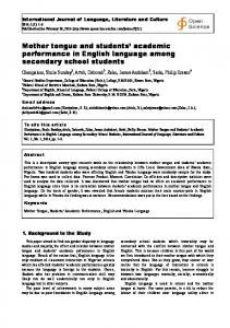 Mother tongue and students academic performance in English language among secondary school students