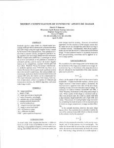 MOTION COMPENSATION OF SYNTHETIC APERTURE RADAR