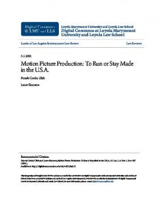 Motion Picture Production: To Run or Stay Made in the U.S.A