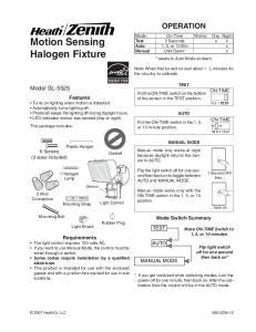 Motion Sensing Halogen Fixture