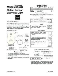 Motion Sensor Entryway Light