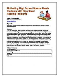 Motivating High School Special Needs Students with Significant Reading Problems