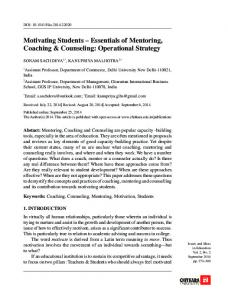 Motivating Students Essentials of Mentoring, Coaching & Counseling: Operational Strategy