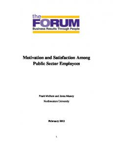 Motivation and Satisfaction Among Public Sector Employees