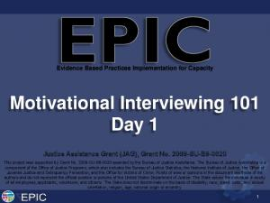 Motivational Interviewing 101 Day 1