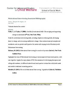 Motivational Interviewing Annotated Bibliography