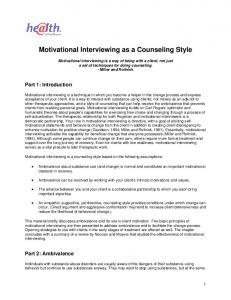 Motivational Interviewing as a Counseling Style