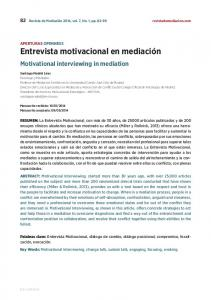 Motivational interviewing in mediation