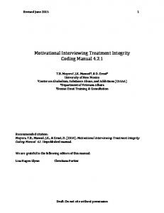 Motivational Interviewing Treatment Integrity Coding Manual 4.2.1