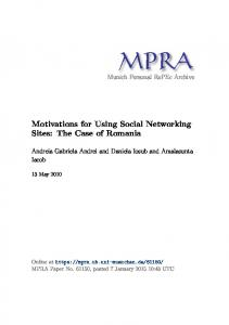 Motivations for Using Social Networking Sites: The Case of Romania