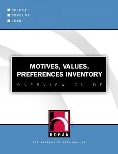 MOTIVES, VALUES, PREFERENCES INVENTORY