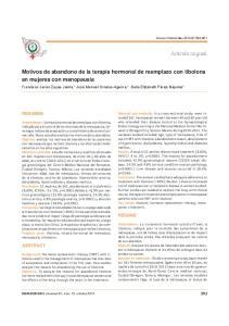 Motivos de abandono de la terapia hormonal de reemplazo con tibolona en mujeres con menopausia