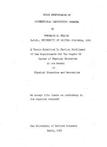 MOTOR PERFORMANCE OF CORRECTIONAL INSTITUTION INMATES, TERRMCE.R... PELT ON. A. Thesis Submitted In Partial Fulfilment
