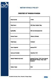 MOTOR VEHICLE POLICY DIOCESE OF WAGGA WAGGA