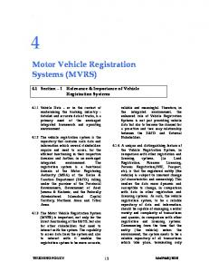 Motor Vehicle Registration Systems (MVRS)