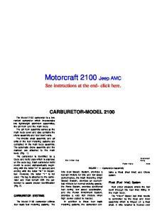 Motorcraft 2100 Jeep AMC
