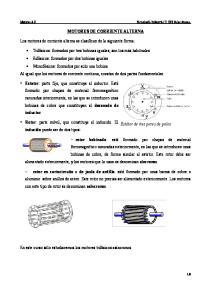 MOTORES DE CORRIENTE ALTERNA. Los motores de corriente alterna se clasifican de la siguiente forma: