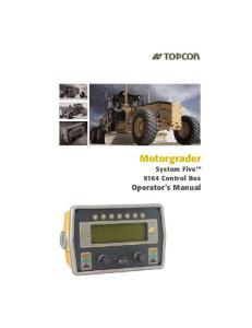 Motorgrader System Five Operator s Manual