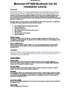 Motorola IHF1000 Bluetooth Car Kit Installation tutorial
