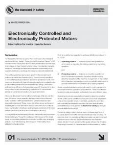 motors. Electronically Controlled and Electronically Protected Motors