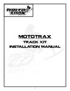 MotoTrax. Track Kit Installation Manual