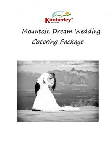 Mountain Dream Wedding. Catering Package