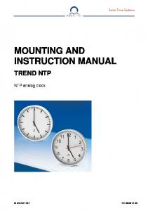 MOUNTING AND INSTRUCTION MANUAL