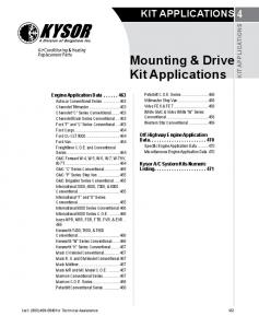 Mounting & Drive Kit Applications