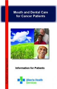 Mouth and Dental Care for Cancer Patients
