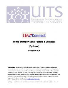Move or Import Local Folders & Contacts (Optional)