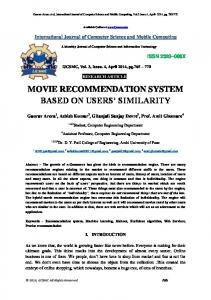 MOVIE RECOMMENDATION SYSTEM BASED ON USERS SIMILARITY
