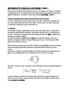 MOVIMIENTO CIRCULAR UNIFORME ( MCU )