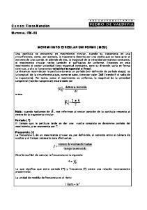 MOVIMIENTO CIRCULAR UNIFORME (MCU) = t