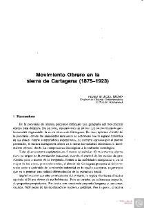 Movimiento Obrero en la sierra de Cartagena ( )
