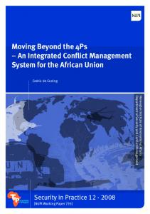 Moving Beyond the 4Ps An Integrated Conflict Management System for the African Union
