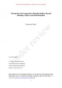 Moving forward Comparative Planning Studies: Beyond Planning Cultures and Institutionalism