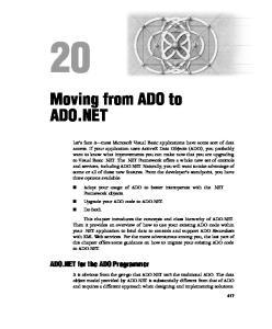 Moving from ADO to ADO.NET