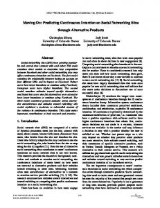 Moving On: Predicting Continuance Intention on Social Networking Sites. through Alternative Products