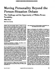 Moving Personality Beyond the Person-Situation Debate