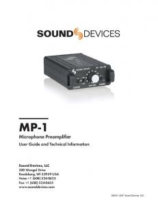 MP-1. Microphone Preamplifier. User Guide and Technical Information