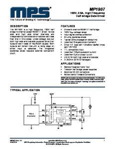 MP V, 2.5A, High Frequency Half-bridge Gate Driver