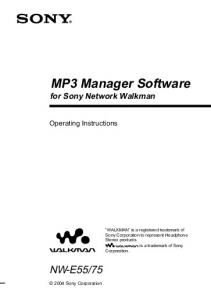 MP3 Manager Software for Sony Network Walkman