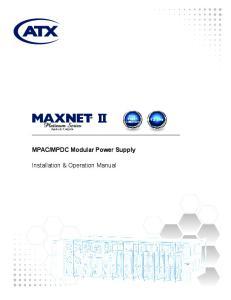 MPDC Modular Power Supply. Installation & Operation Manual