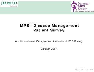 MPS I Disease Management Patient Survey