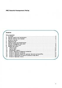 MRC Records Management Policy Contents