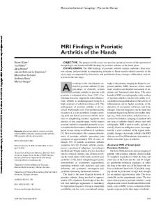 MRI Findings in Psoriatic Arthritis of the Hands