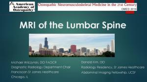 MRI of the Lumbar Spine