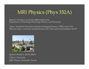 MRI Physics (Phys 352A)