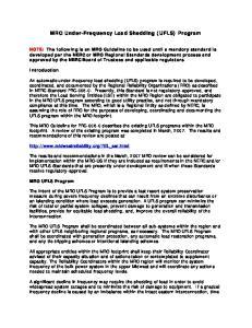 MRO Under-Frequency Load Shedding (UFLS) Program